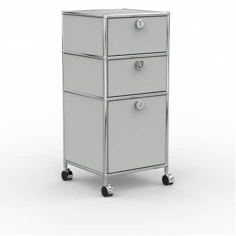 Rollcontainer - Design 40cm - 2xES 1xES2 (AWR) - Metall - Lichtgrau (RAL 7035)