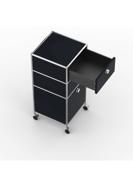 Rollcontainer - Design 40cm - 2xES 1xES2 (AWR) - Metall - Graphitschwarz (RAL 9011)