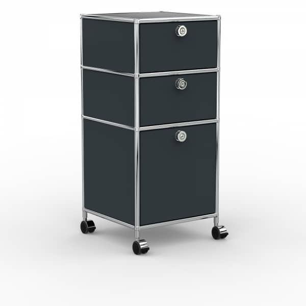Rollcontainer - Design 40cm - 2xES 1xES2 (AHR) - Metall - Anthrazitgrau (RAL 7016)