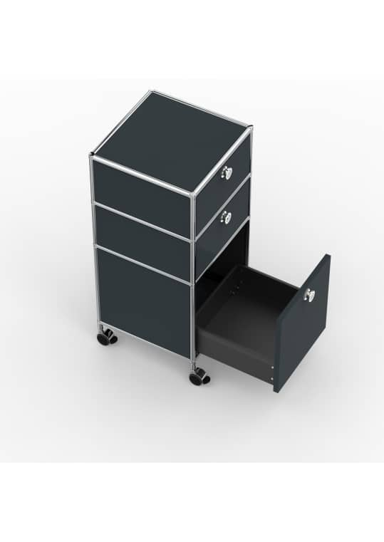 Rollcontainer - Design 40cm - 2xES 1xES2 (AHR) - Metall - Anthrazitgrau (RAL 7016)