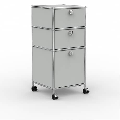 Rollcontainer Design 40cm - 2xES 1xES2 (AHR) - Metall - Lichtgrau (RAL 7035)