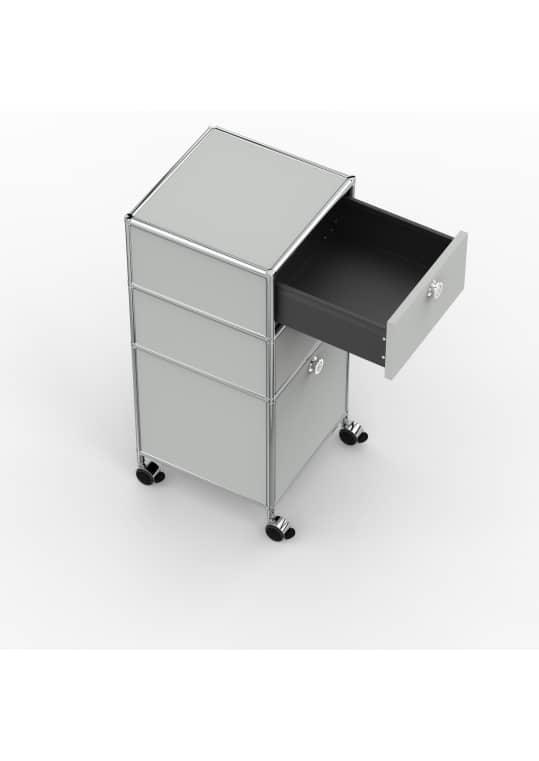 Rollcontainer - Design 40cm - 2xES 1xES2 (AHR) - Metall - Lichtgrau (RAL 7035)