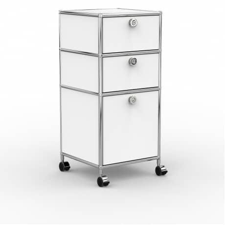 Rollcontainer - Design 40cm - 2xES 1xES2 (AHR) - Metall - Signalweiss (RAL 9003)