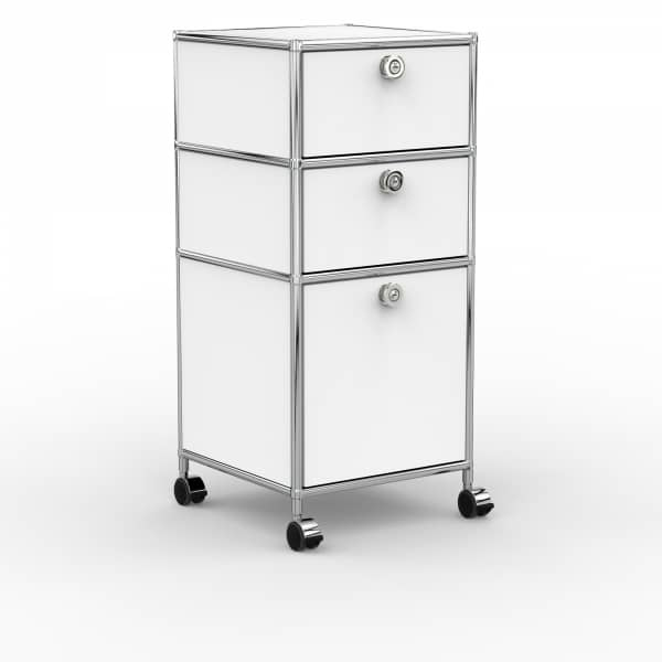Rollcontainer - Design 40cm - 2xES 1xES2 (AHR) - Metall - Signalweiss (RAL 9003)