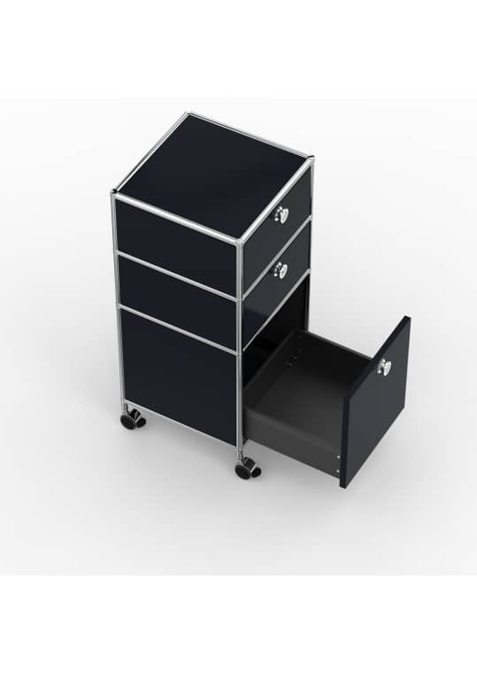 Rollcontainer - Design 40cm - 2xES 1xES2 (AHR) - Metall - Graphitschwarz (RAL 9011)