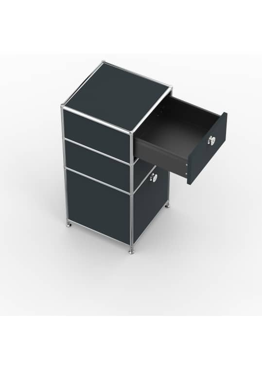 Standcontainer - Design 40cm - 2xES 1xHG (ASF) - Metall - Anthrazitgrau (RAL 7016)