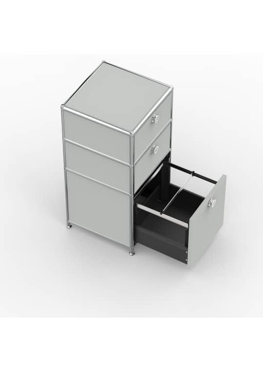 Standcontainer - Design 40cm - 2xES 1xHG (ASF) - Metall - Lichtgrau (RAL 7035)