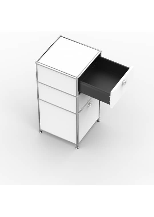 Standcontainer - Design 40cm - 2xES 1xHG (ASF) - Metall - Signalweiss (RAL 9003)