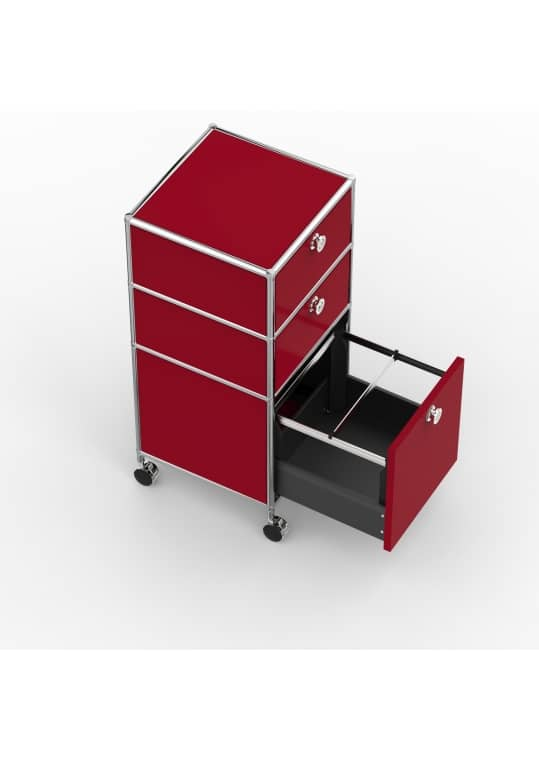 Rollcontainer - Design 40cm - 2xES 1xHG (AWR) - Metall - Rubinrot (RAL 3003)