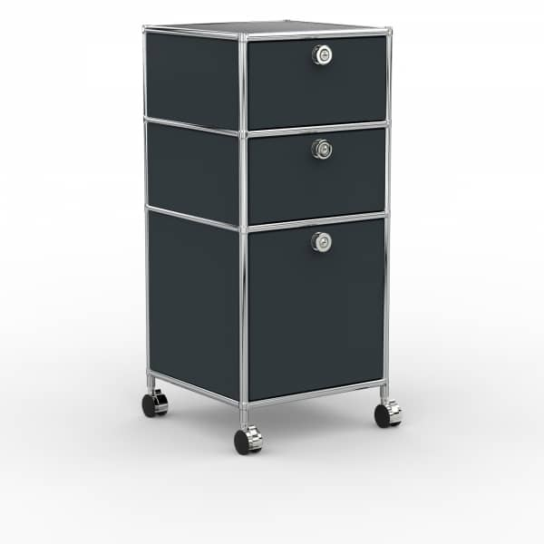 Rollcontainer - Design 40cm - 2xES 1xHG (AWR) - Metall - Anthrazitgrau (RAL 7016)