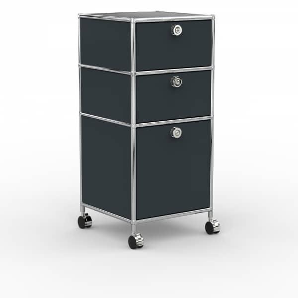 Rollcontainer - Design 40cm - 2xES 1xHG (AWR) - Metall - Anthrazitgrau (RAL 7016)