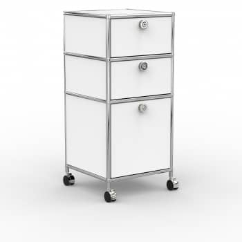 Rollcontainer - Design 40cm - 2xES 1xHG (AWR) - Metall - Signalweiss (RAL 9003)