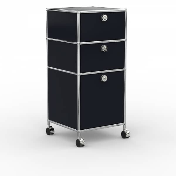 Rollcontainer - Design 40cm - 2xES 1xHG (AWR) - Metall - Graphitschwarz (RAL 9011)