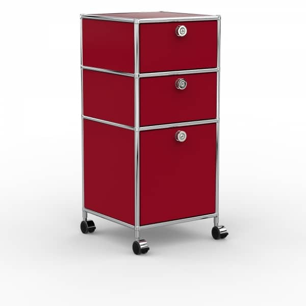 Rollcontainer - Design 40cm - 2xES 1xHG (AHR) - Metall - Rubinrot (RAL 3003)