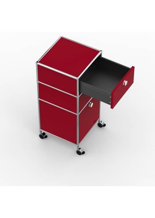 Rollcontainer - Design 40cm - 2xES 1xHG (AHR) - Metall - Rubinrot (RAL 3003)