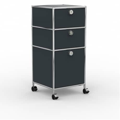 Rollcontainer - Design 40cm - 2xES 1xHG (AHR) - Metall - Anthrazitgrau (RAL 7016)