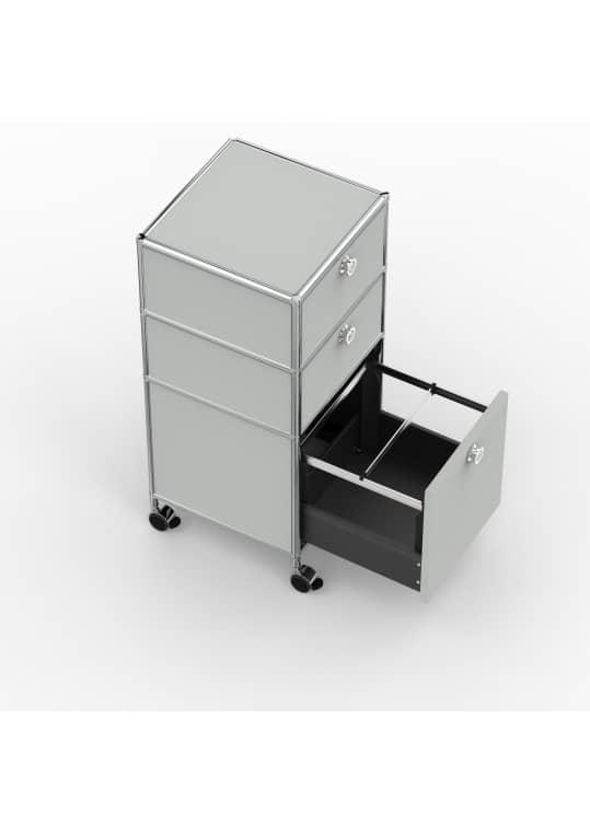 Rollcontainer - Design 40cm - 2xES 1xHG (AHR) - Metall - Lichtgrau (RAL 7035)