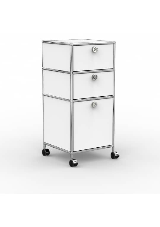 Rollcontainer - Design 40cm - 2xES 1xHG (AHR) - Metall - Signalweiss (RAL 9003)