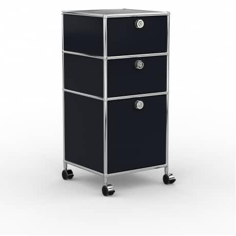 Rollcontainer - Design 40cm - 2xES 1xHG (AHR) - Metall - Graphitschwarz (RAL 9011)