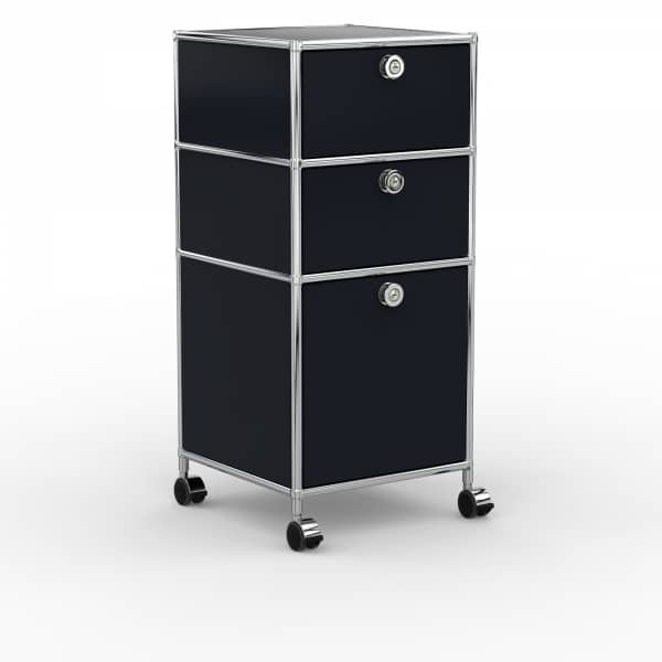 Rollcontainer - Design 40cm - 2xES 1xHG (AHR) - Metall - Graphitschwarz (RAL 9011)
