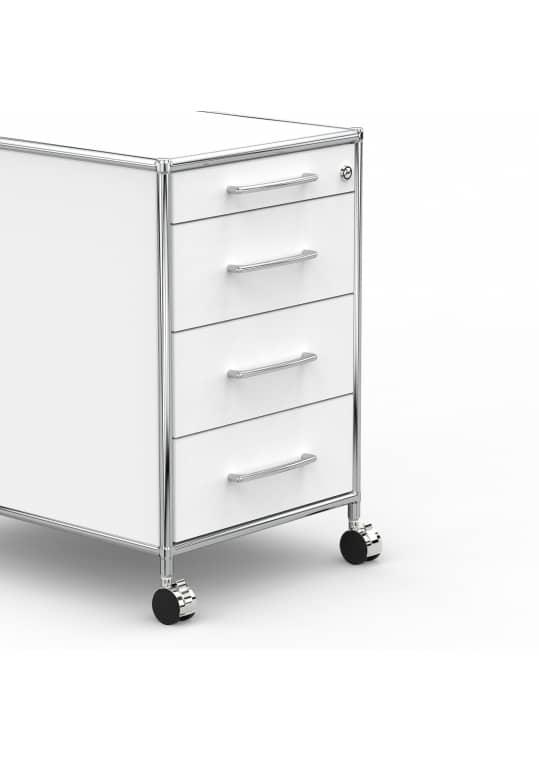 Rollcontainer - Design 60cm - 4 Schubladen (AWR) - Holz - Dekor Weiss