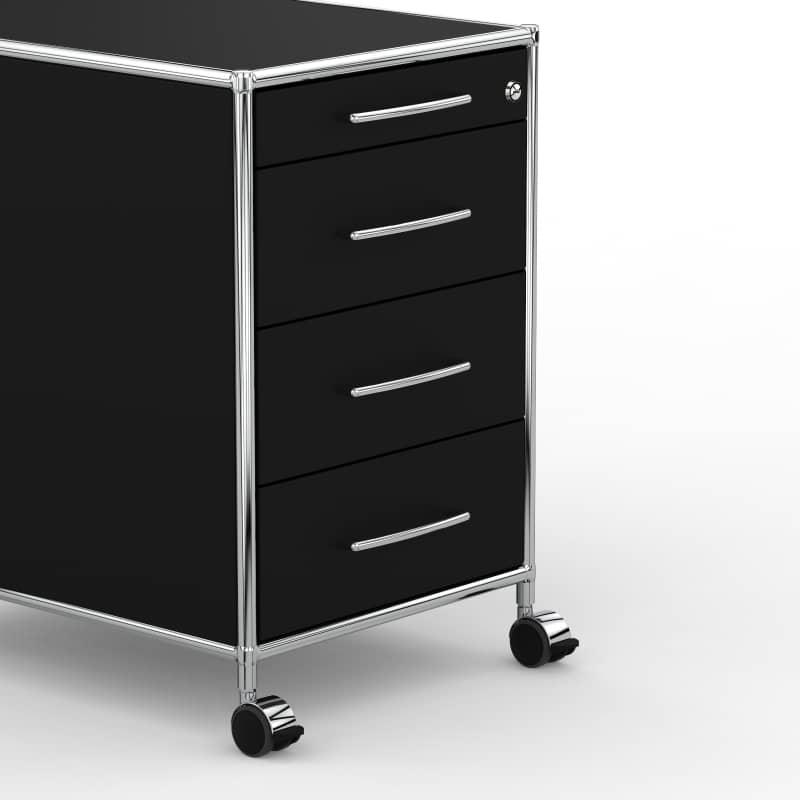 Rollcontainer metall schwarz  Rollcontainer - Design 80cm - 4 Schubladen ... » VERSEE