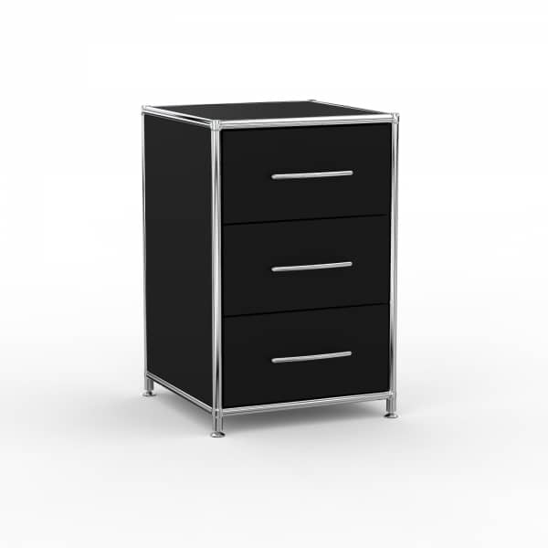 Standcontainer Design 40cm - 3 Schubladen (ASF) - Holz - Dekor Schwarz