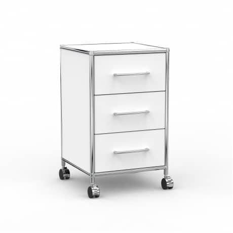 Rollcontainer Design 40cm - 3 Schubladen (AWR) - Holz - Dekor Weiss