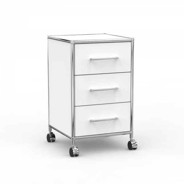 Rollcontainer - Design 40cm - 3 Schubladen (AWR) - Holz - Dekor Weiss