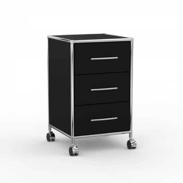 Rollcontainer - Design 40cm - 3 Schubladen (AWR) - Holz - Dekor Schwarz
