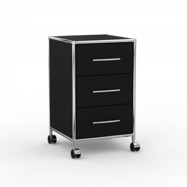 Rollcontainer Design 40cm - 3 Schubladen (AHR) - Holz - Dekor Schwarz