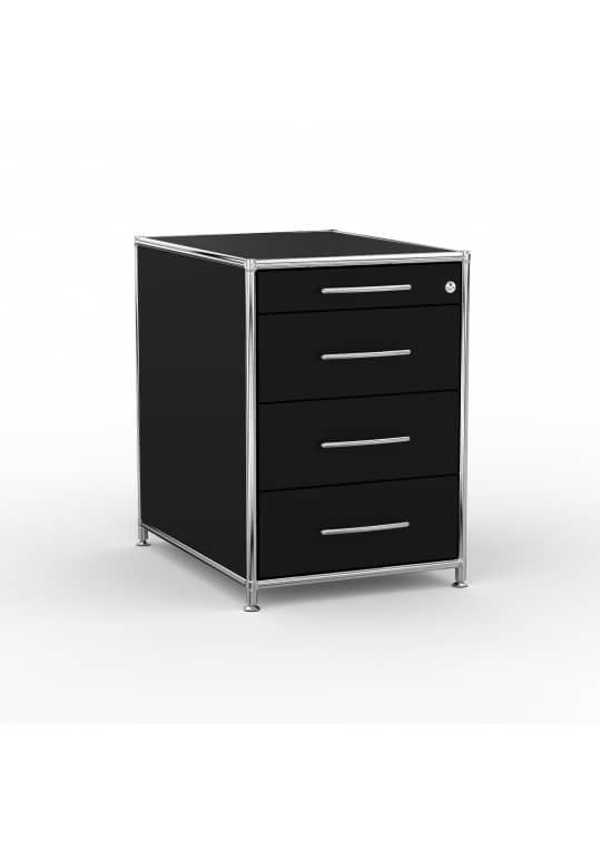 Standcontainer - Design 60cm - 4 Schubladen (ASF) - Holz - Dekor Schwarz