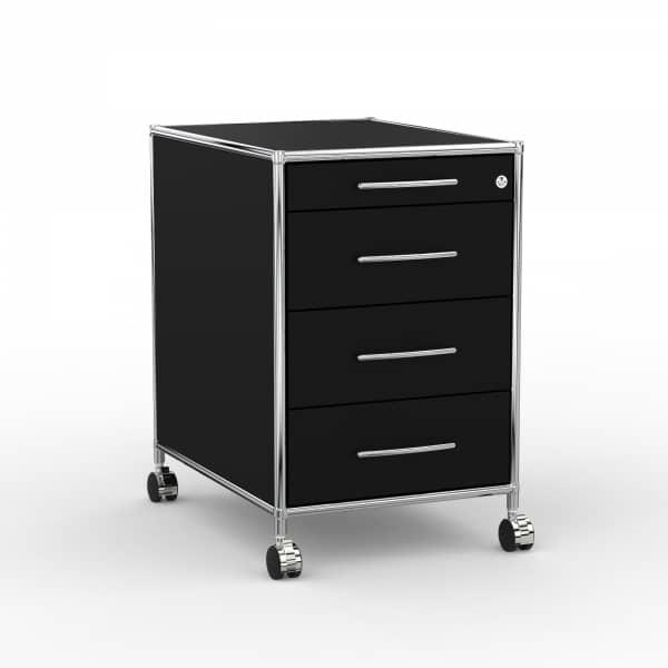 Rollcontainer Design 60cm - 4 Schubladen (AWR) - Holz - Dekor Schwarz
