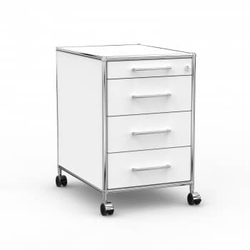 Rollcontainer - Design 60cm - 4 Schubladen (AHR) - Holz - Dekor Weiss