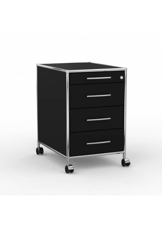 Rollcontainer - Design 60cm - 4 Schubladen (AHR) - Holz - Dekor Schwarz