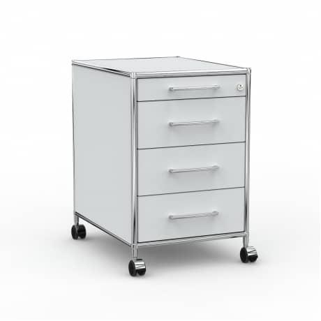 Rollcontainer - Design 60cm - 4 Schubladen (AHR) - Holz - Dekor Lichtgrau
