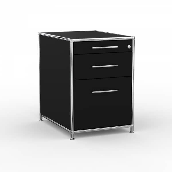 Standcontainer - Design 60cm - Hängeregistratur (ASF) - Holz - Dekor Schwarz