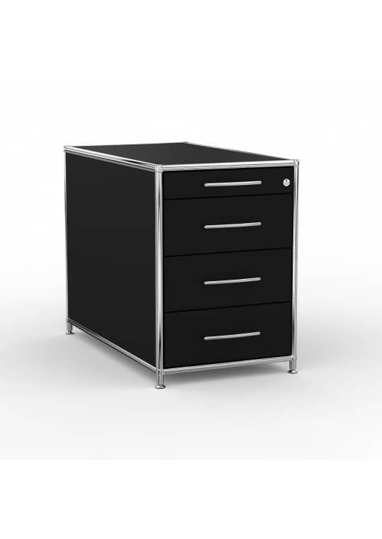 Standcontainer - Design 80cm - 4 Schubladen (ASF) - Holz - Dekor Schwarz