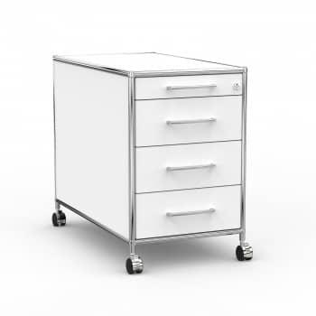 Rollcontainer - Design 80cm - 4 Schubladen (AWR) - Holz - Dekor Weiss