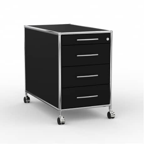 Rollcontainer - Design 80cm - 4 Schubladen (AWR) - Holz - Dekor Schwarz