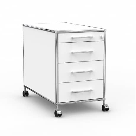 Rollcontainer - Design 80cm - 4 Schubladen (AHR) - Holz - Dekor Weiss