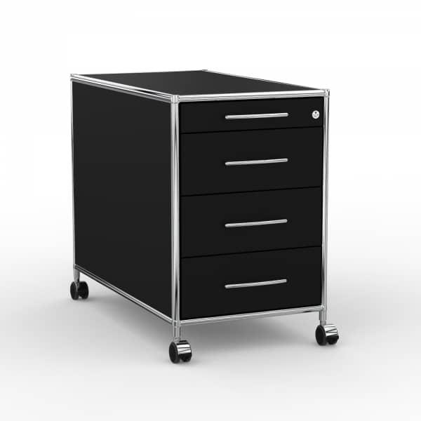 Rollcontainer Design 80cm - 4 Schubladen (AHR) - Holz - Dekor Schwarz