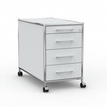 Rollcontainer - Design 80cm - 4 Schubladen (AHR) - Holz - Dekor Lichtgrau