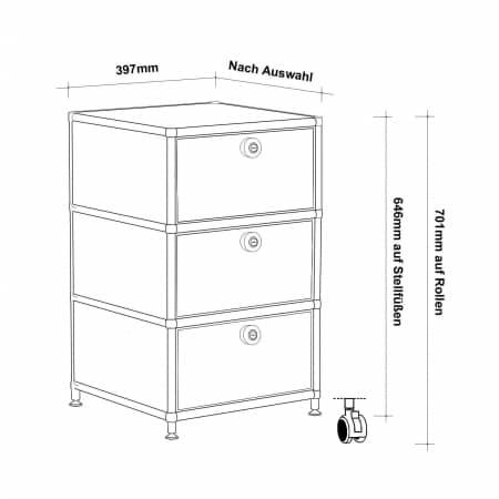 Rollcontainer design hoch  Rollcontainer - Design 40cm - 3xES (AHR) - ... » VERSEE